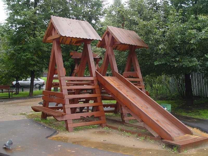идеи для детской площадки деревянная горка