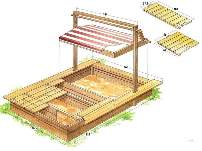 идеи для детской площадки схема песочницы